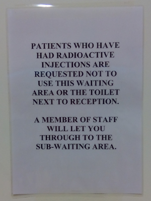 Radiology department warning